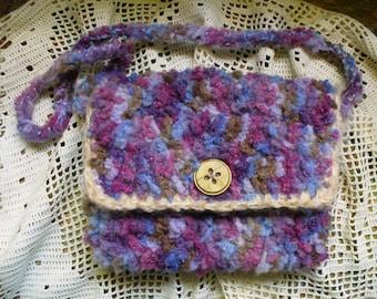 Fuzzy Small Crocheted Lined Purse Bag Purple Fushia Tan