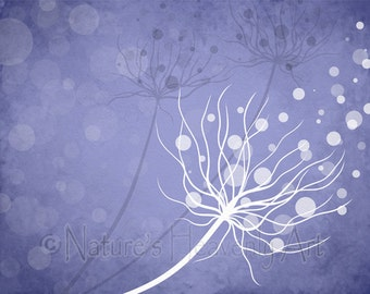 Blue Purple Dandelion Wall Print, Nature Wall Art Print, Home Decor, 11 x 14 Print (46)
