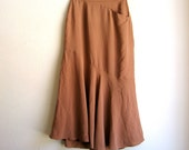 Brown Mermaid Silk Skirt Fit and Flare