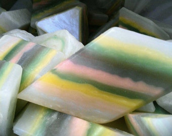 Mother of Pearl Crystal Gem Soap. Clary Sage, Jasmine, Ylang Ylang Flowers, Woods and Ambers