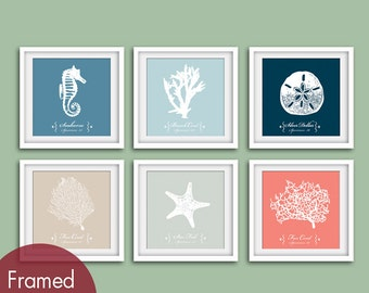 Underwater Sea Coral  (Series A2) Set of 6 - Square Art Print (Blue Linen, Glacier Blue, Navy, French Grey, Fog Grey and Coral Rose)