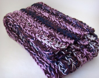 Chunky Cashmere and Merino Wool Scarf, purple crochet knit scarf