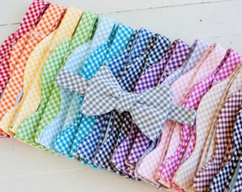 Bow Ties, Freestyle Bow Ties, Self-Tie Bow Ties, Mens Bow Ties, Bowties - Gingham Collection Freestyle Bow Ties With 16 Shades Available