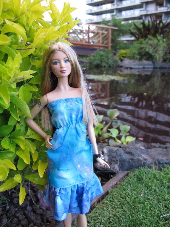 Blue Pink Batik Dress for Barbie and Momoko