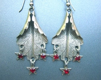 Vintage Dangle Earrings with Rhinestone Stars