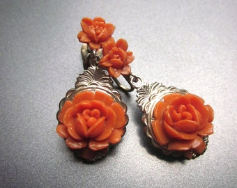 Vintage Carved Rose Earrings Screw Back Floral Jewelry