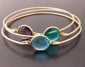 Multi Gemstone Bracelet Set, Purple Amethyst Bracelet, Blue Topaz Bracelet, Green Apatite Bracelet, Purple, Blue, Green, Gemstone Bracelets