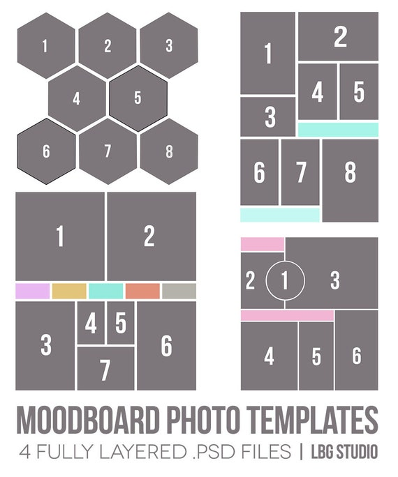 items similar to moodboard photo templates on etsy. Black Bedroom Furniture Sets. Home Design Ideas
