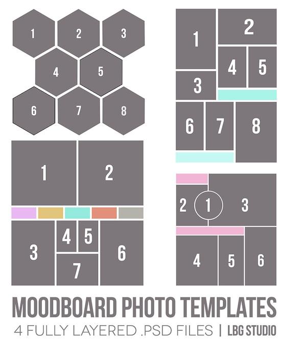 items similar to moodboard photo templates on etsy