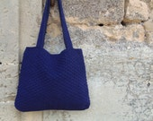 Blue crocheted bag with fabric lining. Cotton handbag in dark blue