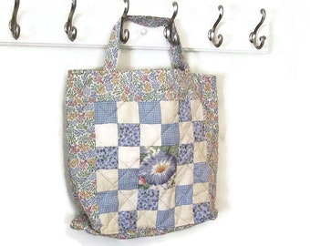 Bag quilted patchwork blue morning glory and multi vines