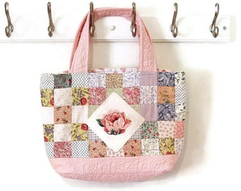 Bag quilted large patchwork pink rose