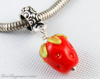 Strawberry European Charm Dangle, SRA Handmade Lampwork Glass Bead, Red Berries