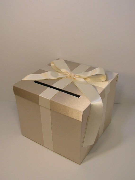 Champagne and ivory wedding card box gift card box by for Homemade money box ideas