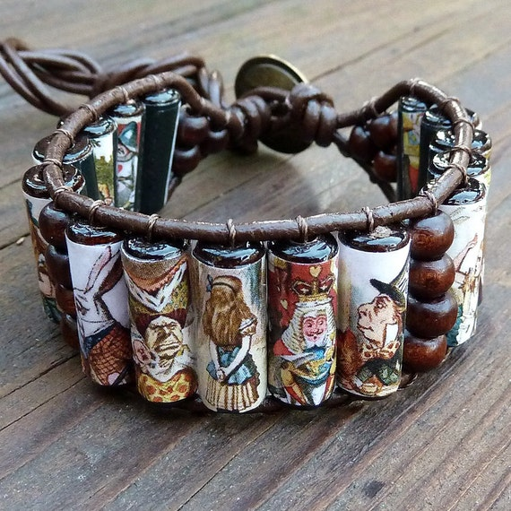 Alice in Wonderland Cuff Bracelet - Alice in Wonderland Wood Beads, Brown Leather Bracelet