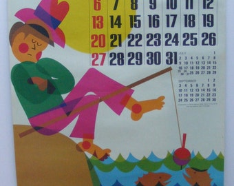 Vintage August 1972 calendar poster