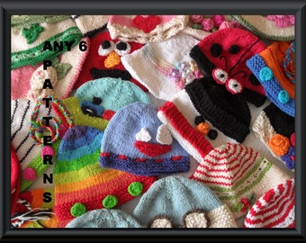 Six Baby Hat Pattern Knitting Patterns Discount  Knitted Baby Hat Patterns  of Your Choice Please READ the ORDER INSTRUCTIONS Below