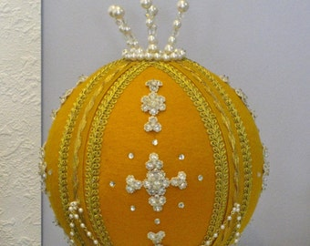 Large Ric Rac Ball Vintage Ornamental Hanging Decoration Handmade Halloween Holiday Decor Faux Beads Sequins