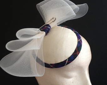 Tartan Silk Button - Scottish inspired silk hat, contemporary bridal headpiece
