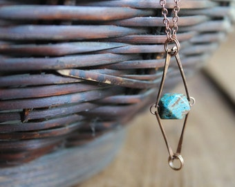 Malbrook Caged Jasper Nugget Copper Chain Necklace - Geometric Terrariam Style Necklace - It's All The Rage