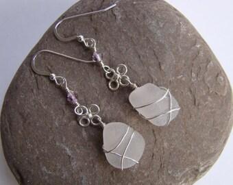Purple Sea Glass Earrings - Sterling Silver - Wire Wrapped