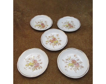 "Pink & Yellow Roses Scalloped Porcelain  Butter Pats with Gold Trim – ""Rosa"" Pattern – by Bishop and Stonier - Vintage Tableware – Set of 5"