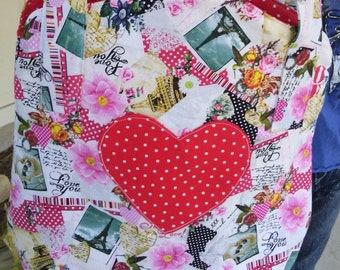 SALE---was 30.00, now 20.00---Sweetheart girly tote bag for Valentine's and all year