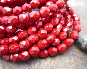 Cardinal Red Faceted Firepolished 6mm Beads