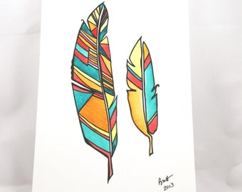 Summer Feathers . Feather Art . Watercolor Painting . Pen Drawing . Small Artwork on Paper . Geometric Art
