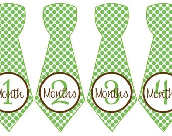 Baby Month Stickers Baby Boy Monthly Milestone Stickers Green Brown Polka Dot Preppy Boy Tie Month Stickers Baby Shower Gift - Simon-T
