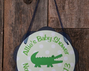 Alligator Door Hanger - Alligator Baby Shower Decorations - Crocodile Welcome Sign in Navy Blue & Green