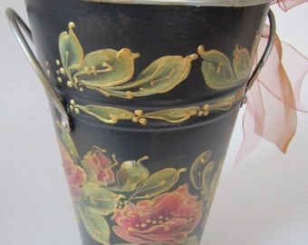 Hand Painted Tin Can by MontanaRosePainter, Black, Deep Rose Colored Roses, Olive Green Leaves, Outlined in Gold Metalic