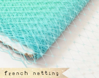 AQUA (two-tone) - French Netting - Millinery Hat Veiling, birdcage veil, feather fascinator