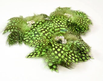 Delightful Feather Flowers - Lime (1pc)