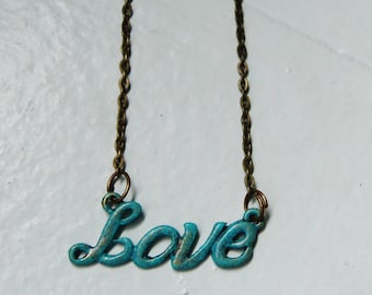 Love Necklace. Verdigris Love Necklace. Patina. Turquoise Necklace. Bridal Necklace. Vintage Inspired.