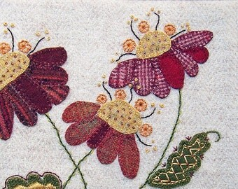 Jacobean Flower Wool Applique, Hand Embroidery / Pattern / Jac 013