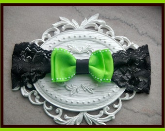Black lace headband with lime bow