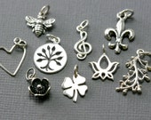 Add On Sterling Silver Charm - Heart Charm - Silver Family Tree Charm - Music Charm - Bee Charm - Lotus Charm - Four Leaf Clover Charm