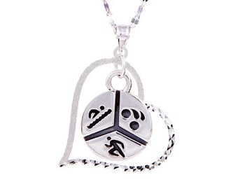 Triathlon Jewelry - Swim Bike Run Round Triathlon Pendant and Heart Necklace-Ironman and Iron Girl Jewelry-Triathlete Gift