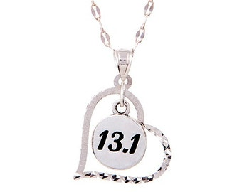 Half Marathon Jewelry - Sterling Silver 13.1 Heart Pendant Necklace