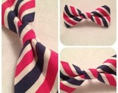 Nautical Puppy Dog Bow-tie Navy and Hot Pink Stripes
