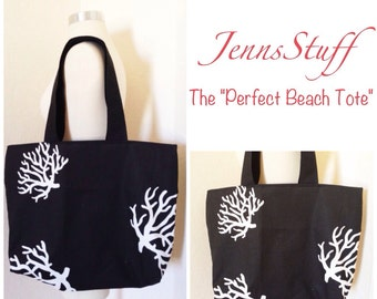 The Perfect Beach Tote - Black with White Coral