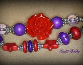 Bracelet Rodeo Cowgirl Chunky Red Rose with red and purple howlite beads