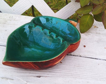 Vintage Green & Brown Acorn Style Ceramic Ashtray