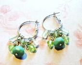 ONE DOLLAR SALE - Vintage - Earrings - Silver Tone Hoops with Dangling Greens