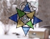 Geometric Star, Stained Glass Suncatcher, Blue, Green, Gold, Wire Spiral and Swirl