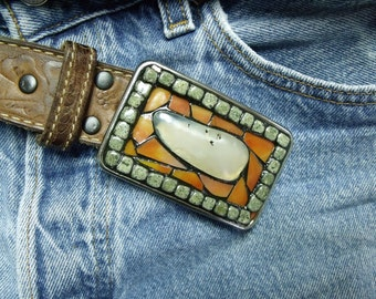 Mosaic Belt Buckle Stone and Stained Glass