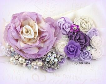 Sash, Purple, Lilac, Plum, Ivory, Cream, Elegant Wedding, Vintage Style, Bridal, Maid of Honor, Pearls, Crystals, Lace, Brooch