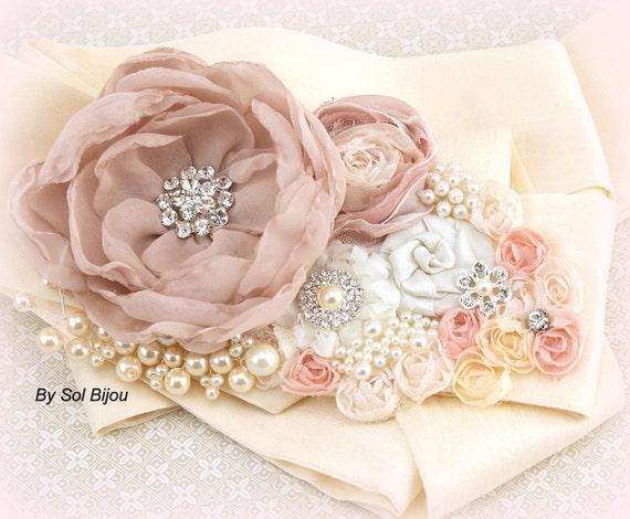 Wedding Sash, Blush, Rose Quartz, Cream, Ivory, Bridal Reception, Vintage Wedding, Elegant Wedding, Gatsby, Lace, Pearls, Crystals, Brooch,