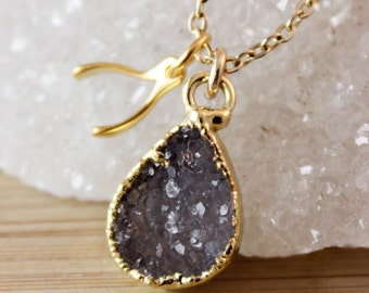 50% OFF SALE - Druzy Crystal Necklace with Wishbone Charm Pendant - Whimsical Jewelry - Charm Necklace